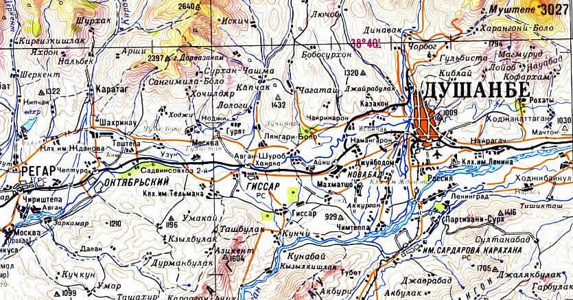 Карта Города Душанбе