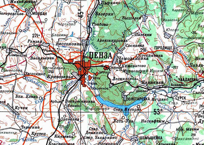 Подробная карта Пензы